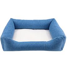 Linen Bumper Pet Bed-Blue-L