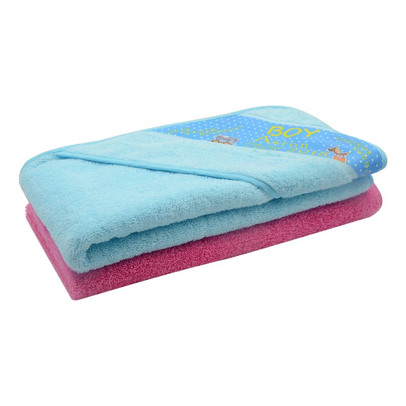 Baby wrap towel-blue/pink