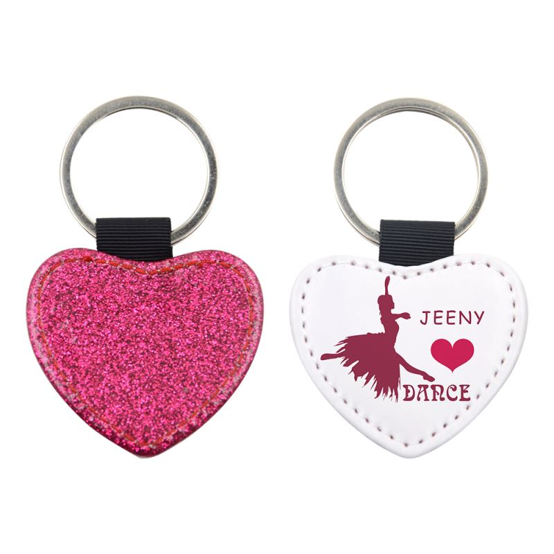 PU Glitter Key Chain-Heart Shape