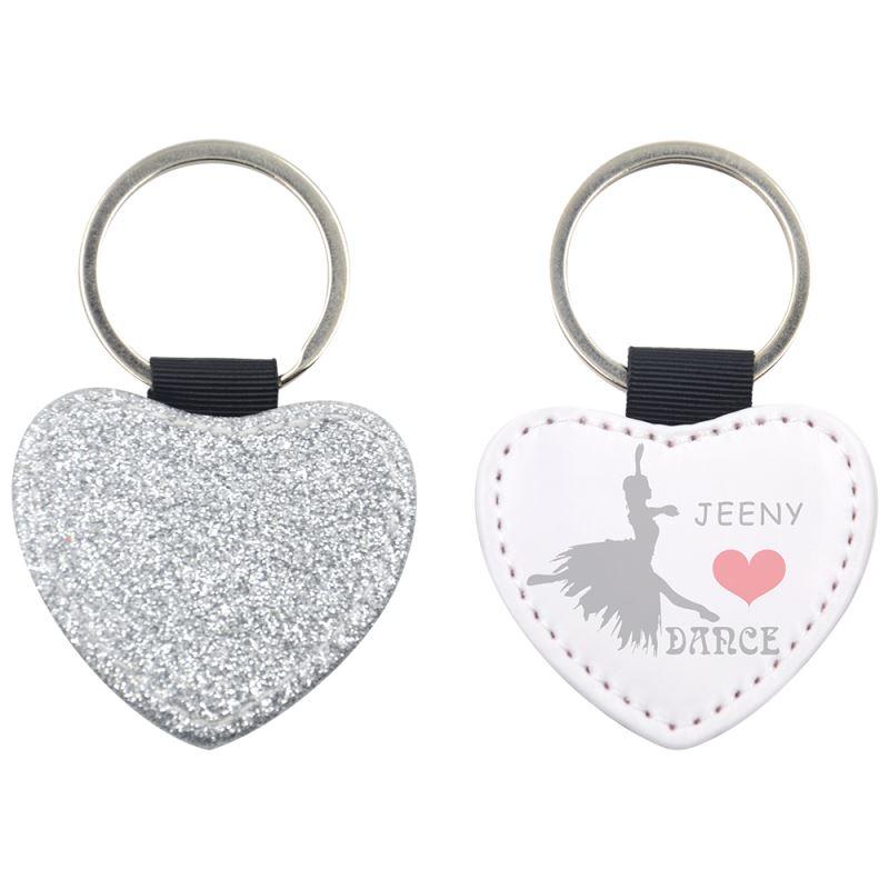 personalized pu keychain glitter