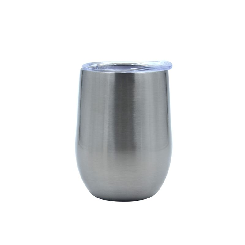12OZ Stemless Stainless steel Cup  Glossy - Silver