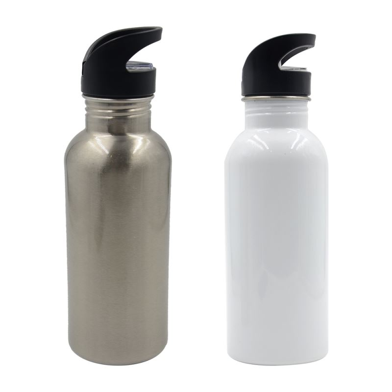 600ml Stainless Steel Water Bottle with Straw Lid