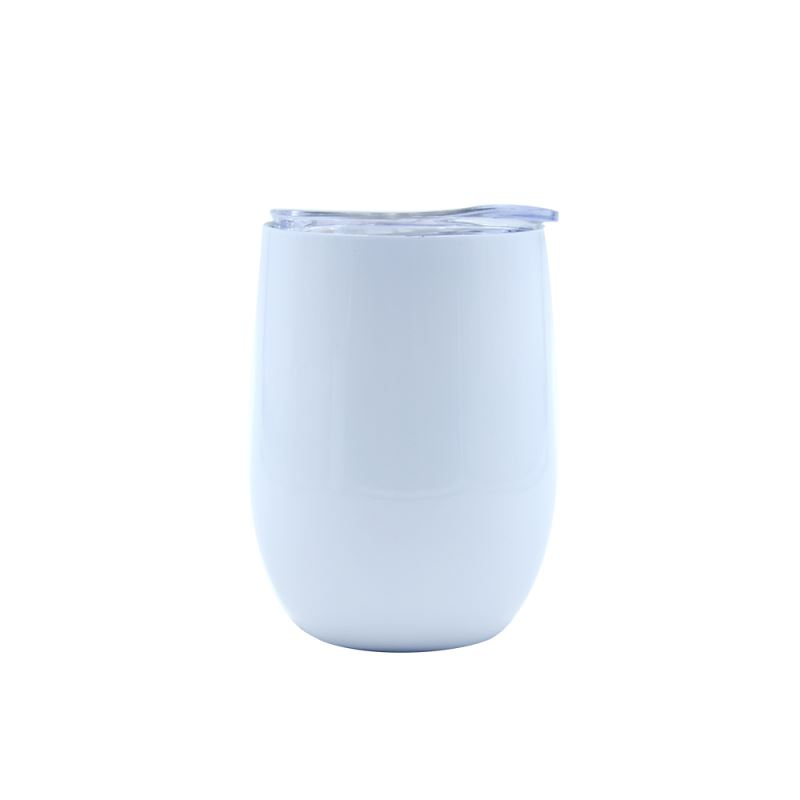 12OZ Stemless Stainless steel Cup  Glossy- White