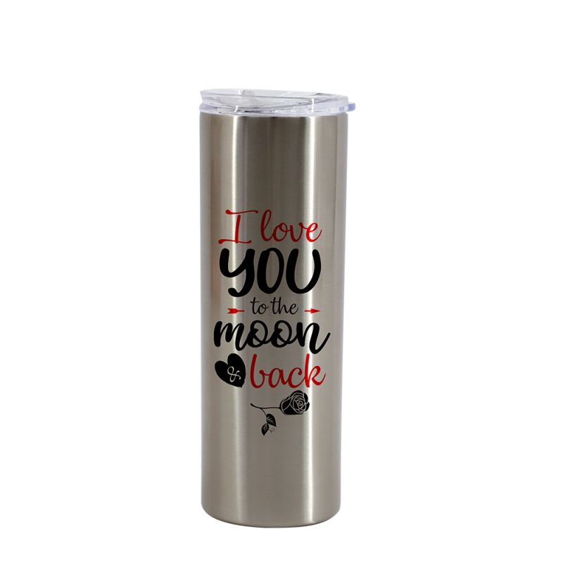 20OZ Stainless Steel Bottle With Transparent Lid-Silver
