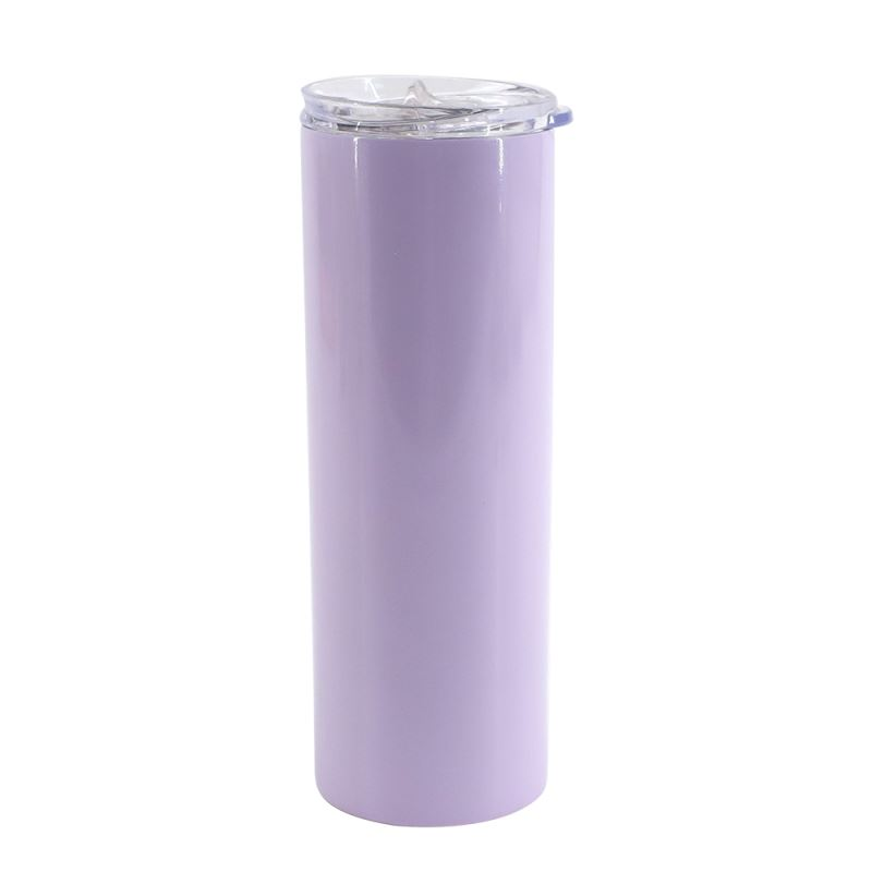 20OZ Stainessl Steel Bottle with Transparent Lid -Purple