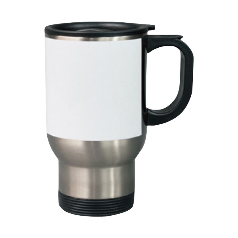 Car Mug-Silver with White Panel