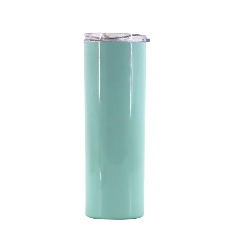 20OZ Stainessl Steel Bottle with Transparent Lid - Mint Green
