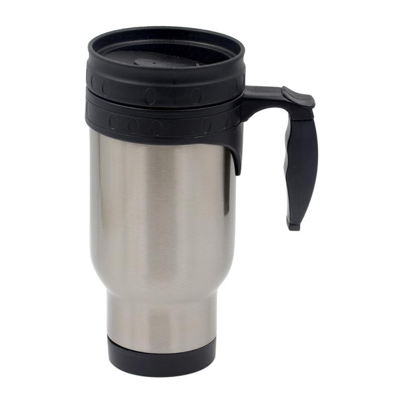 14oz Stainless Steel Mug-Plastic Insert-Silver