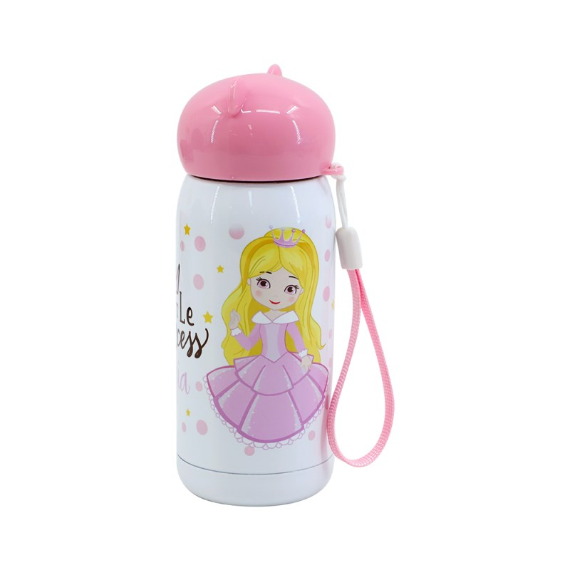 300ml Stainless Steel Bottle with Bear shape lid -Pink