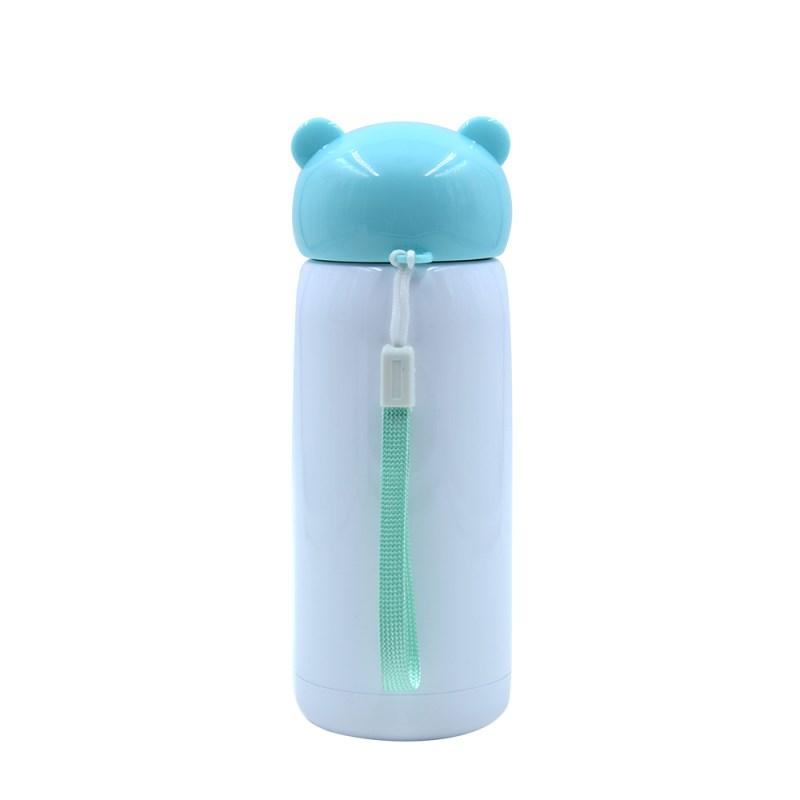 300ml Stainless Steel Bottle with Bear shape lid -Blue
