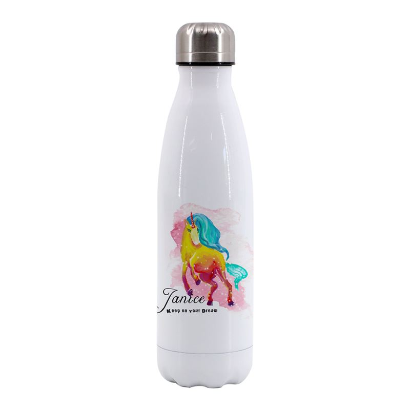 750ML Cola Shape Stainless Steel Bottle-White