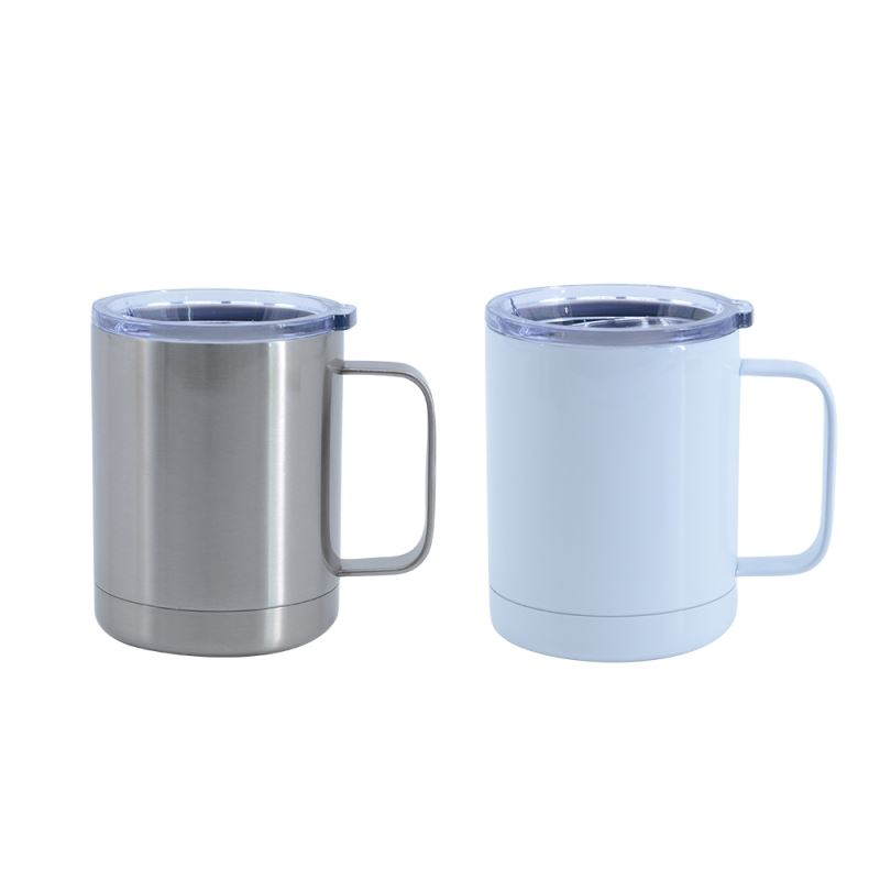 10OZ Stainless steel mug -Silver/White
