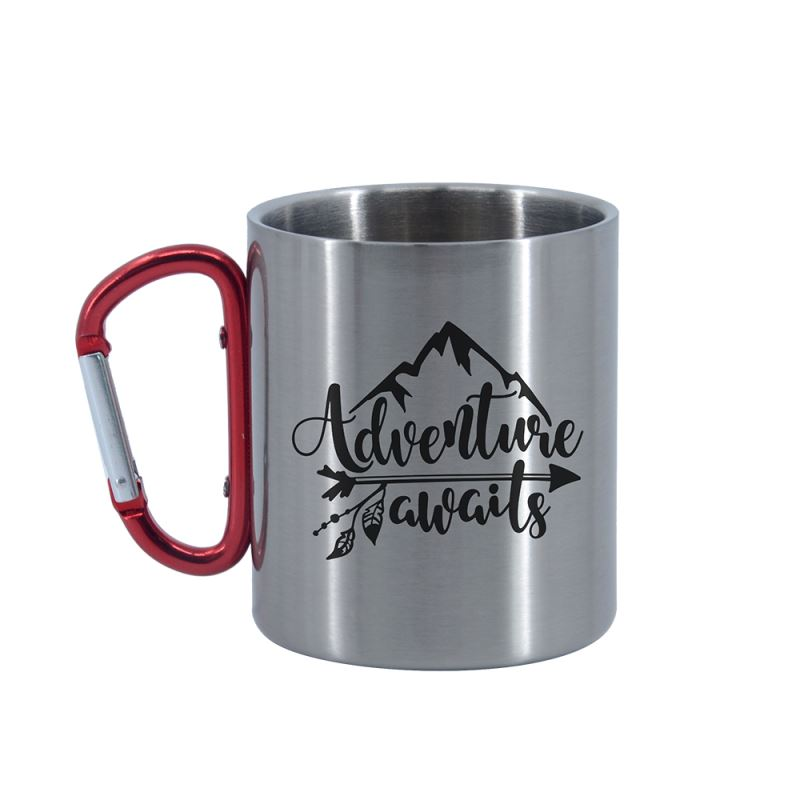 Stainless Steel Mug -Silver with Red Handle