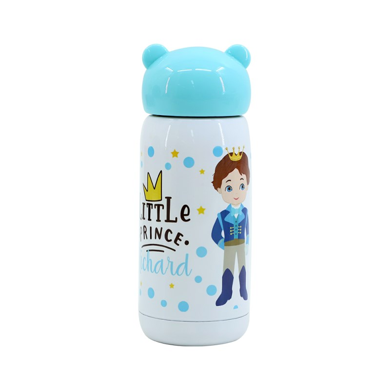 300ml Stainless Steel Bottle with Bear shape lid - Blue