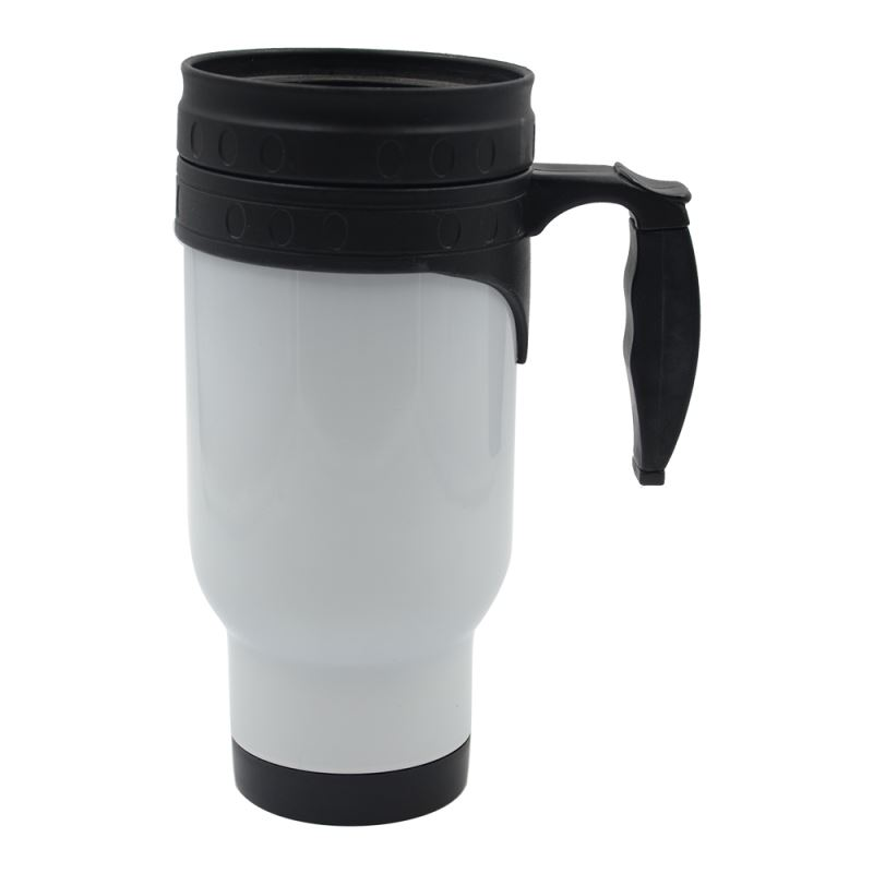 14oz Stainless Steel Mug-Plastic Insert-White