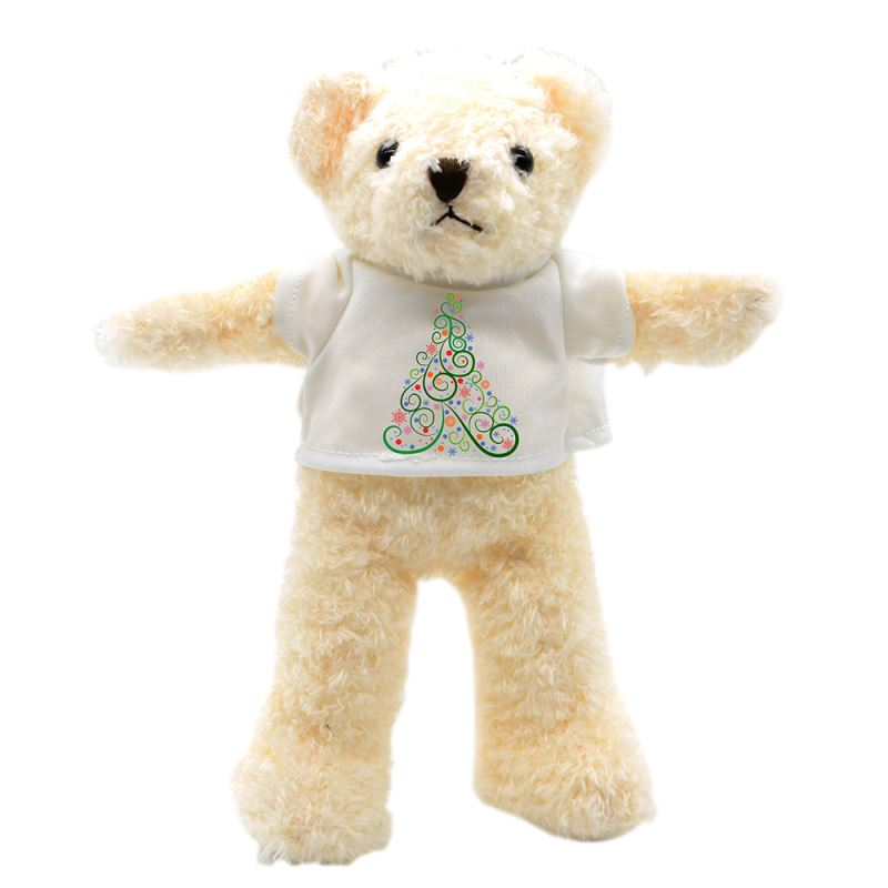 Teddy Bear with T-shirt-White-Small-24CM