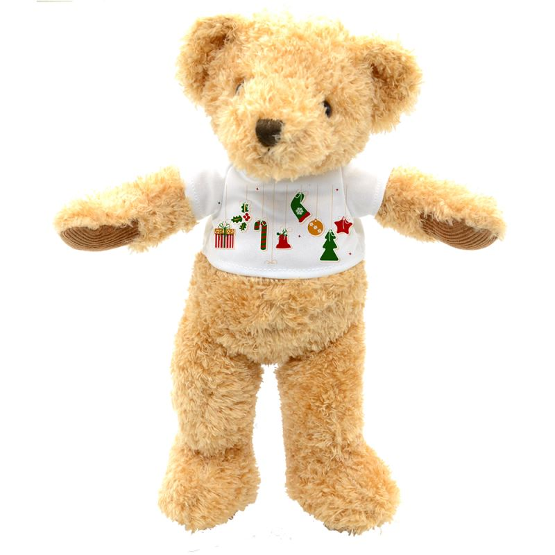 Teddy Bear with T-shirt-Brown-Large-32CM