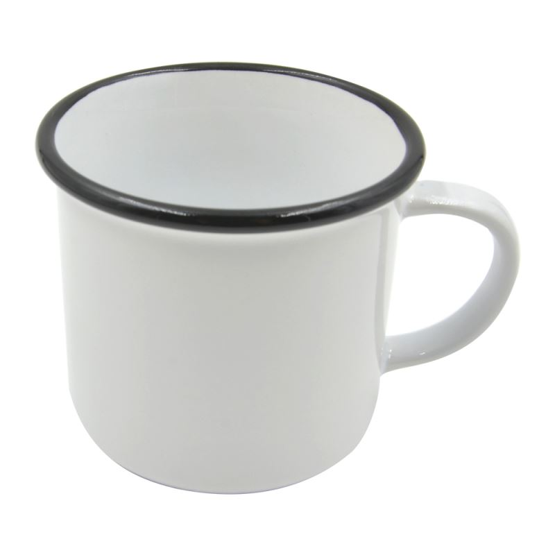 8 oz. Ceramic Camper Mug - black rim