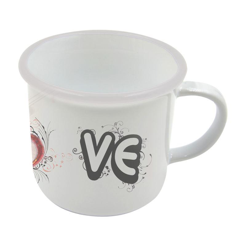 8 oz. Ceramic Camper Mug-white rim