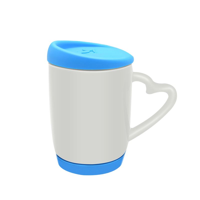 12oz Heart Handle Mug with Silicon Lid And Base