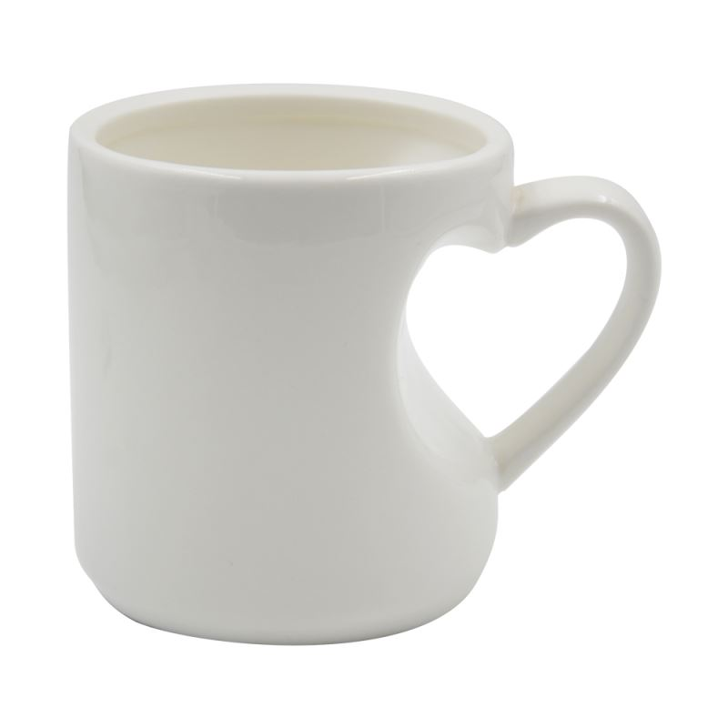 11OZ White Mug with Heart Handle