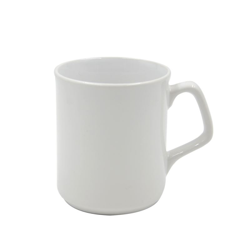 9oz White Mug With Square Handle