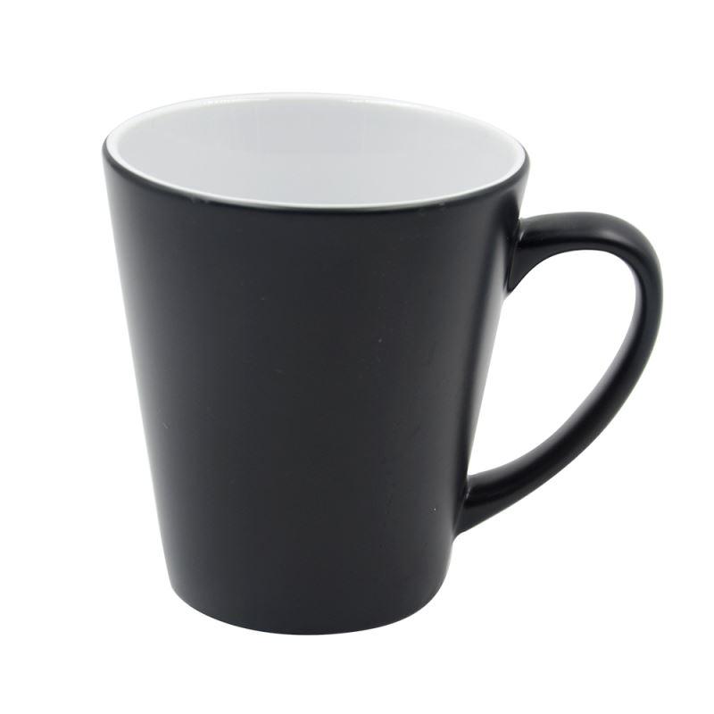 12oz Full Color Change Mug Latte Shape -Glossy-Black