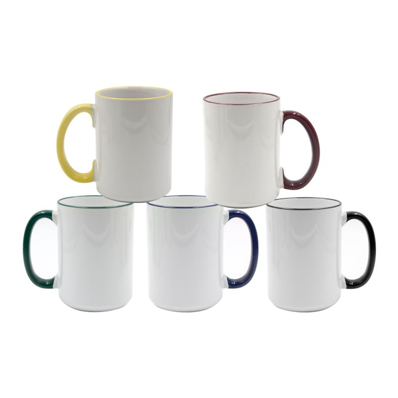 15oz Rim and Handle Color Mug - yellow