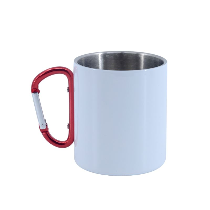 Stainless Steel Mug-White with Red Handle Glossy