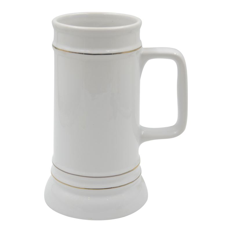 22oz Beer Mug with Golden Rim