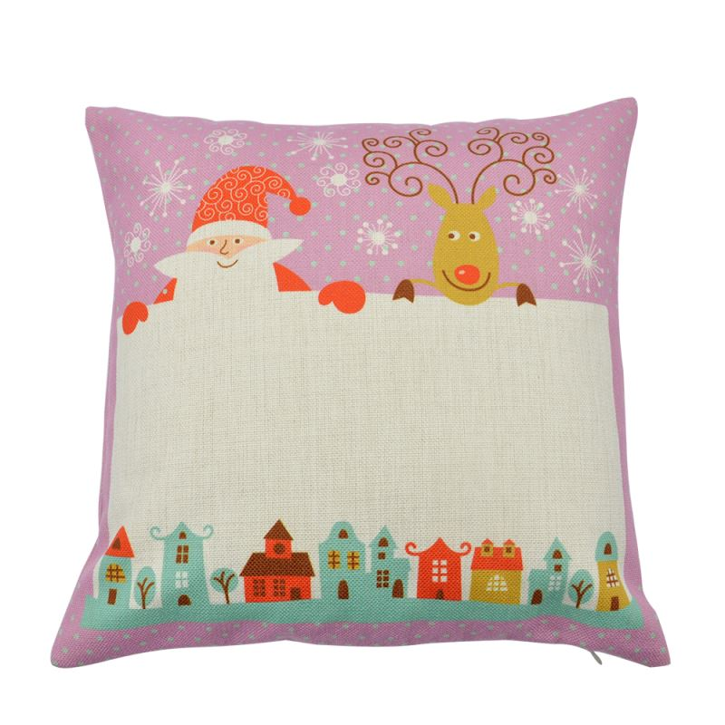Linen Pillow Case-Pink With Xmas Pattern-Double-sided Rectangle Printable Part