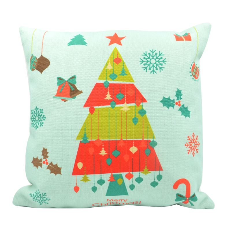 Linen Pillow Case-Green with Colorful Xmas Tree-One-side Printable