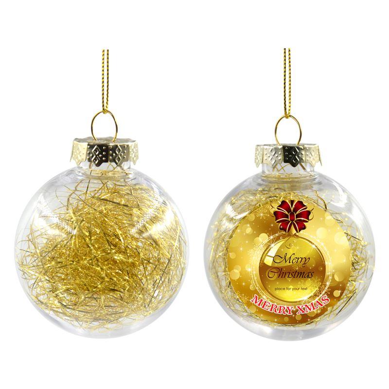 Plastic Xmas Ball With Glitters - Golden- Dia 8CM