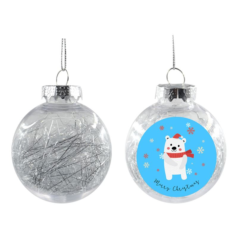 Plastic Xmas Ball With Glitters - Silver - Dia 8CM