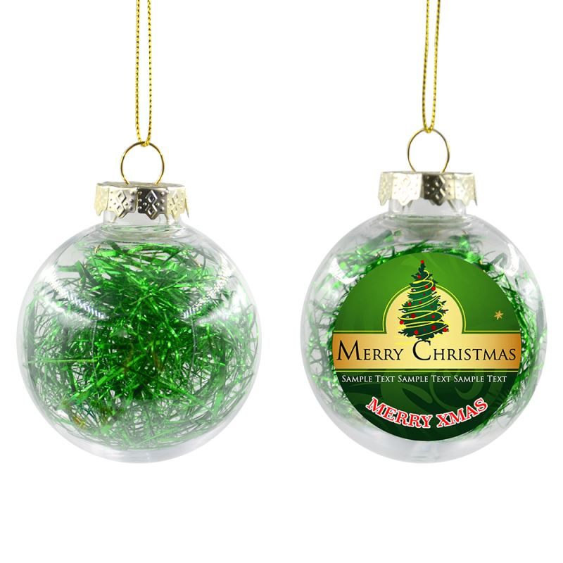 Plastic Xmas Ball With Glitters-Green-Dia 8CM