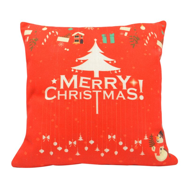Linen Pillow Case-Red with White Xmas Tree-One-side Printable