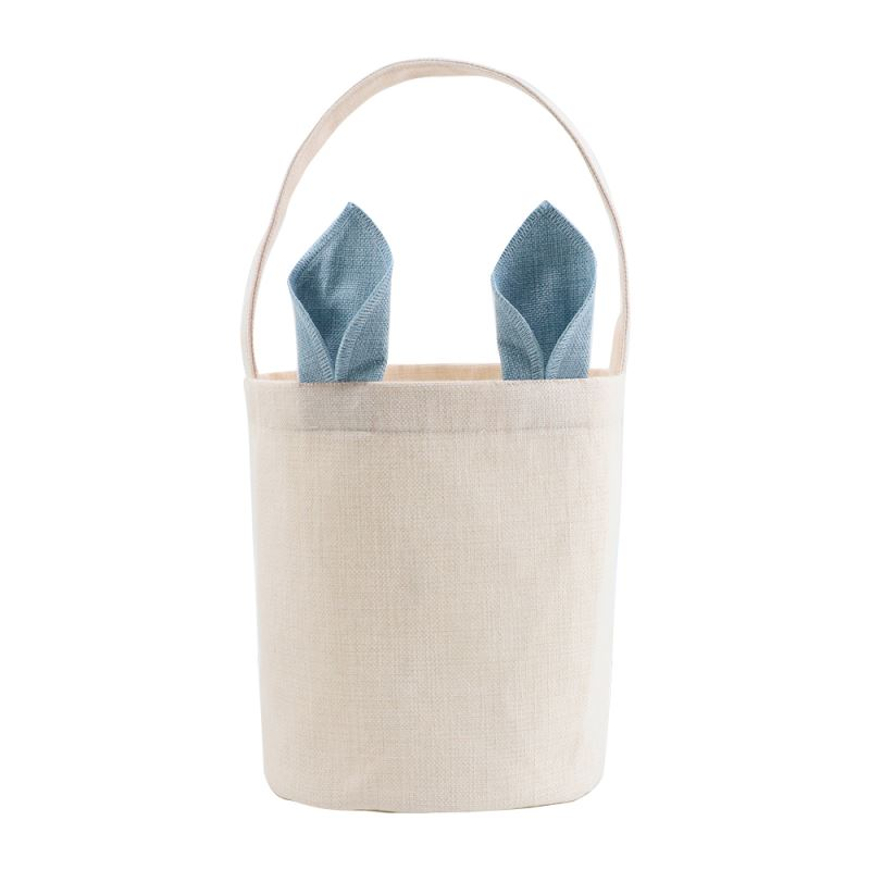Linen Easter Basket - Natual with Pink Ear - Dia 7.8