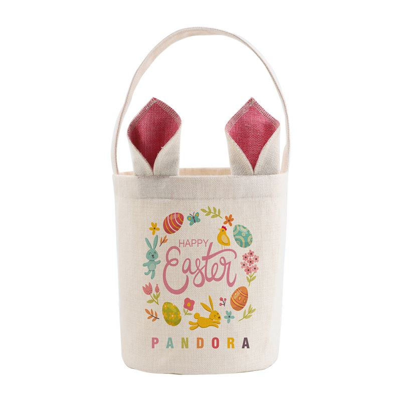 Linen Easter Basket-Natual with Nature& Pink Ear