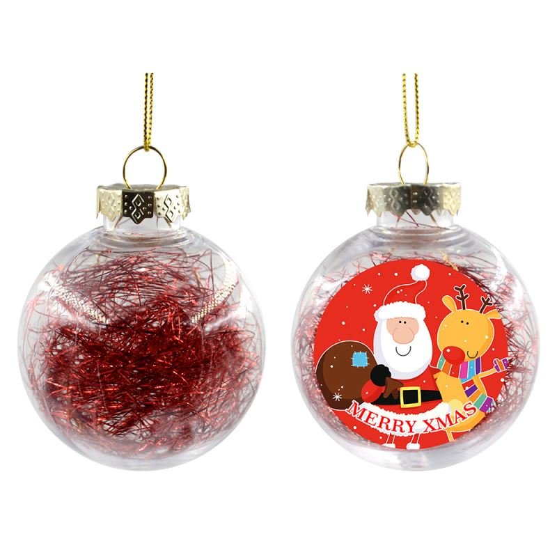 Plastic Xmas Ball With Glitters-Red(Dia 8CM)