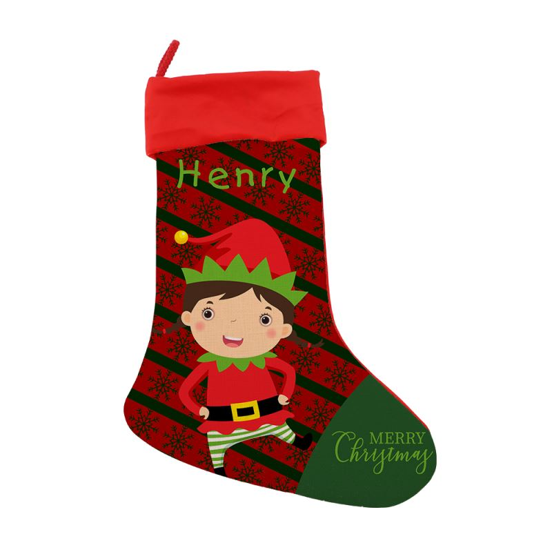 Linen Xmas Stocking with Green Cuff-One Side Green