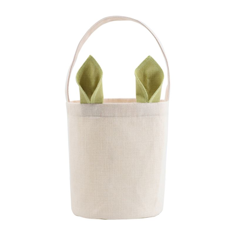 Linen Easter Basket-Natual with Green Ear-Dia 7.8