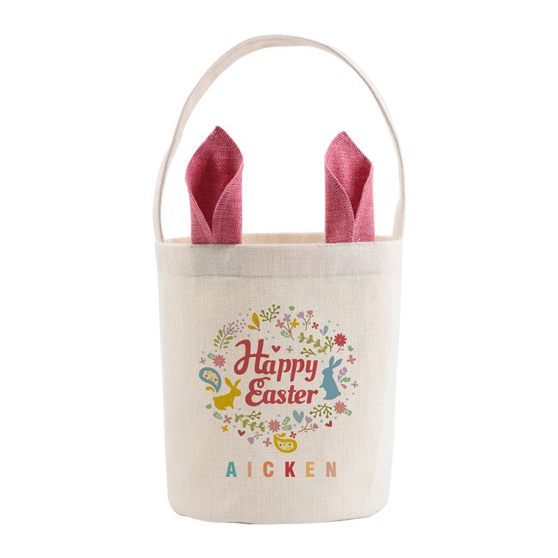 Linen Easter Basket-Natual with Pink Ear-Dia 7.8