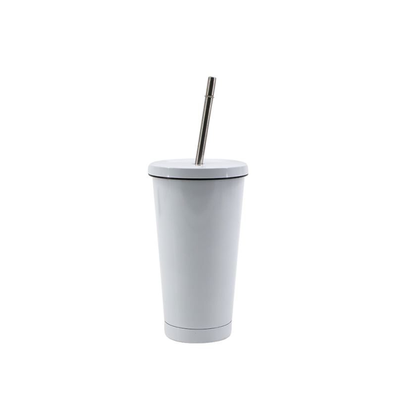 450ML Stainless Steel Straw Cup-White-Glossy
