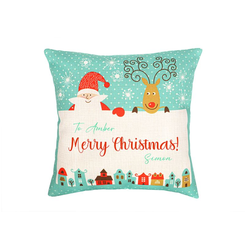 Linen Pillow Case - Double Side Round Printable Part - Green with Xmas Patter