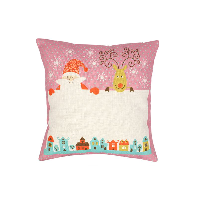 Linen Pillow Case - Double Side Round Printable Part - Red with Xmas Patter