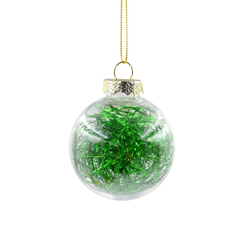 PET Ball with glitter- green -Dia:6cm