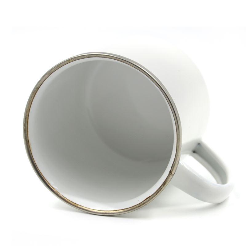 12oz Enamel Mug -Silver Rim