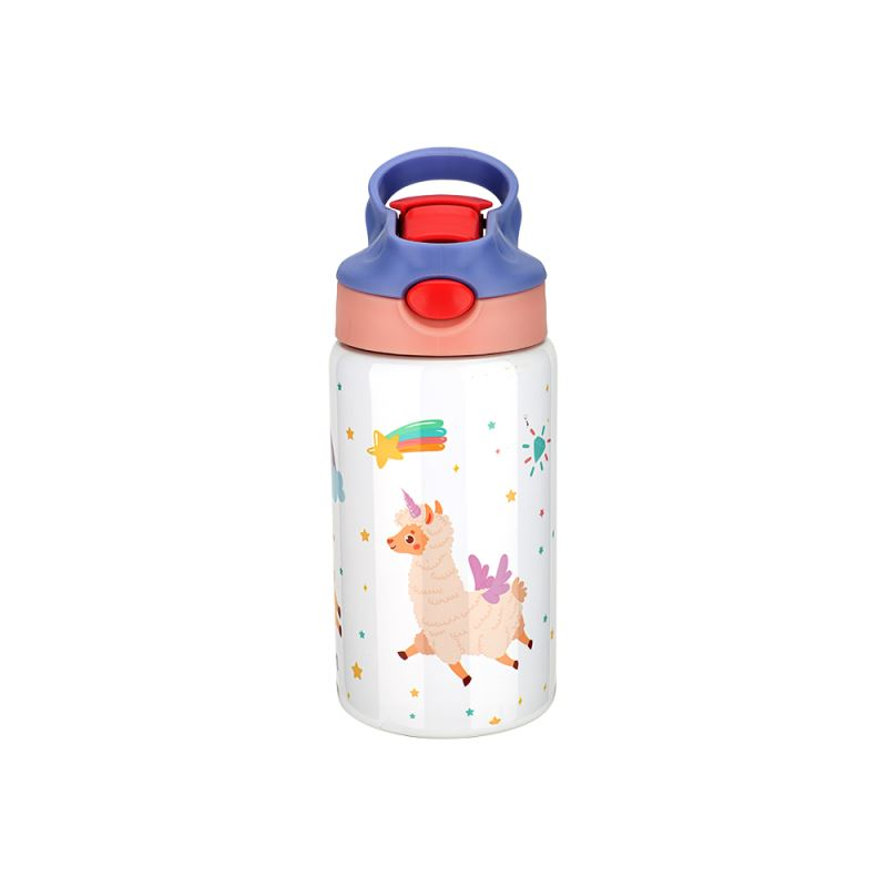350ml Kids Stainless Steel Bottle With Straw-Purple & Pink