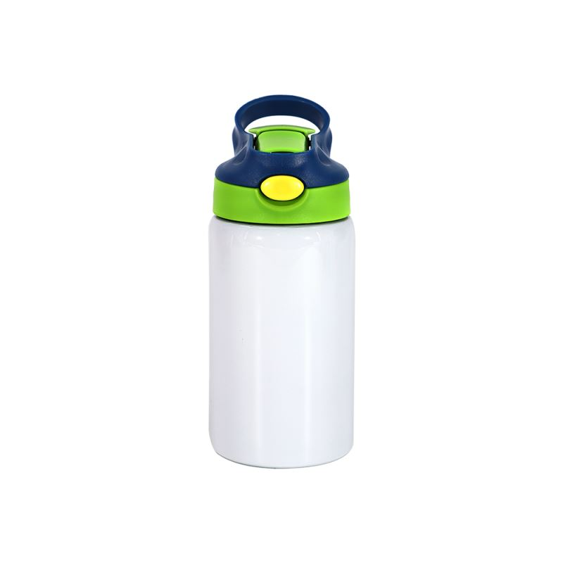 350ml Kids Stainless Steel Bottle With Straw-Blue & Green