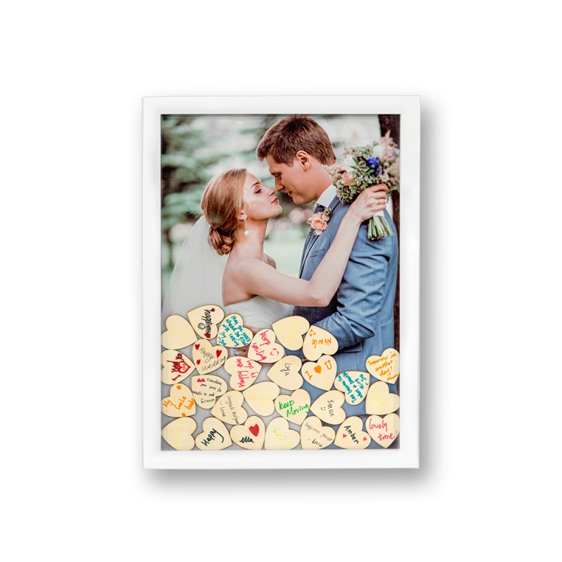 Wooden Guest Frame with heart blocks for Signature-30*42cm